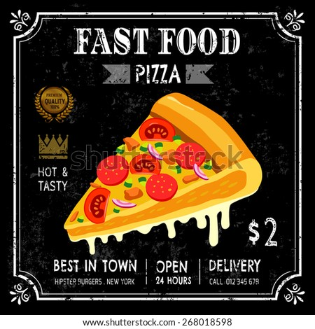 Fast food restaurant poster menu with sausage salami pizza, emblem on chalkboard . vector illustration - stock vector