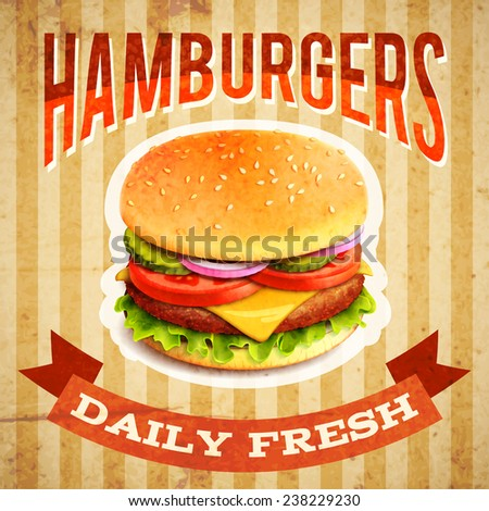 Fast food restaurant poster with beaf meat hamburger emblem vector illustration - stock vector