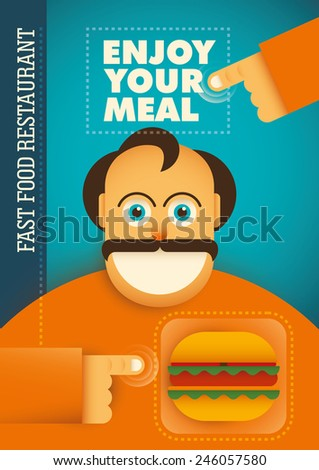 Fast food restaurant poster with comic guy. Vector illustration. - stock vector
