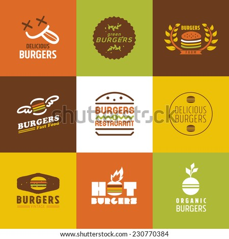 fast food restaurant vector logos and Icons set, Graphic Design Editable For Your Design - stock vector