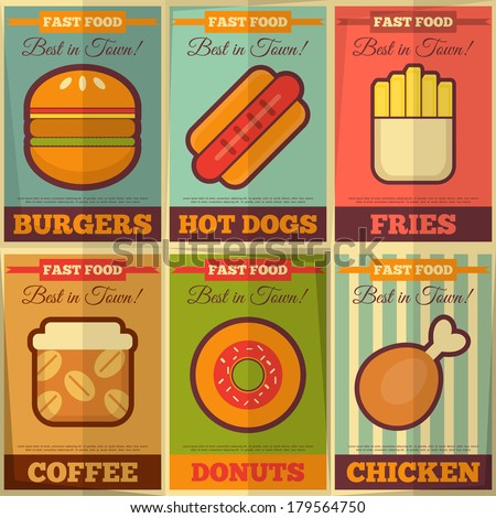 Fast Food Retro Placard Collection in Flat Design Style. Vector Illustration. - stock vector