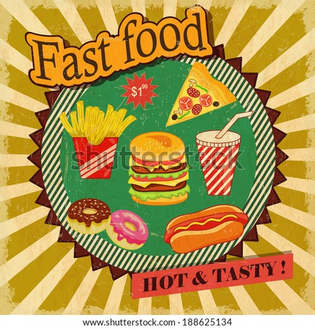 Fast food retro  poster