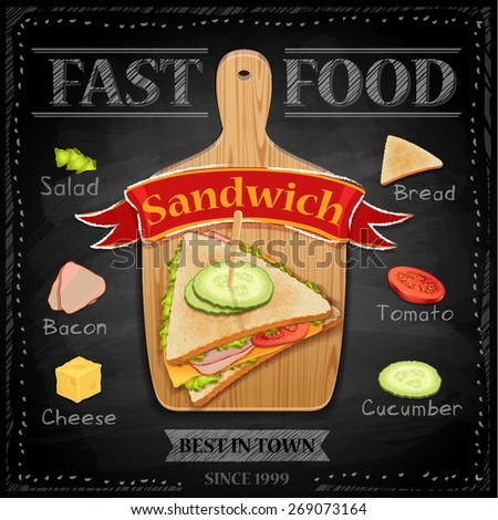 Fast food sandwich on the blackboard - vector illustration  - stock vector
