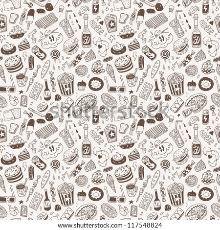 fast food - seamless background - stock vector