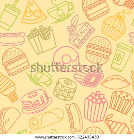 fast food seamless line pattern. Vector illustration