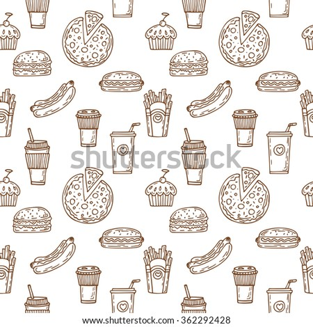 Fast food seamless pattern. Hand drawn food background. Background template for restaurant design. Hot dog, hamburger, coffee, pizza, cupcake. Vector illustration - stock vector
