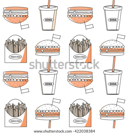 Fast food seamless pattern. Sandwich set. French fries, soda, burger. Decorative elements for your packing design.