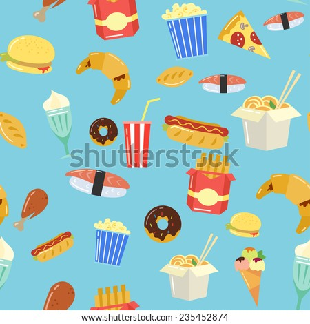Fast Food seamless pattern. Vector - stock vector
