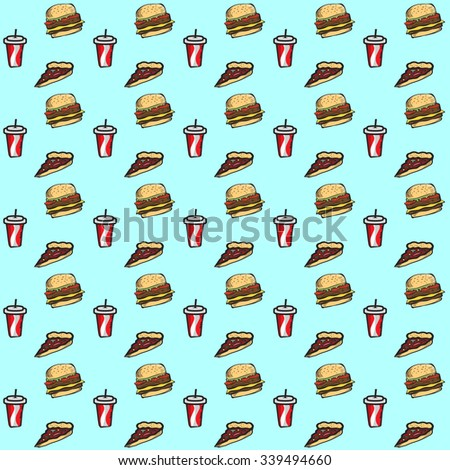 Fast food seamless pattern with burger, pizza and cola drink isolated on soft blue background.Vector illustration. - stock vector