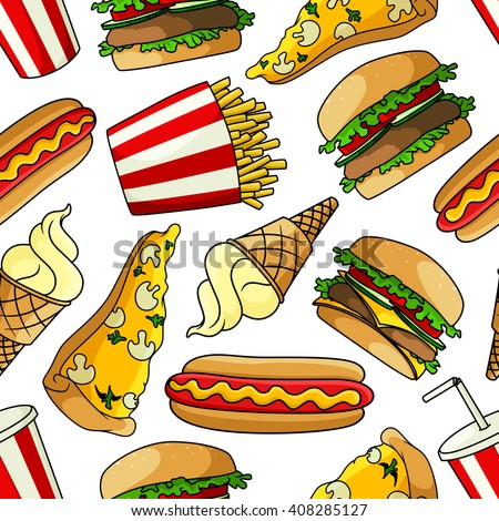 Fast food seamless pattern with pizza topped with mushrooms and cheese, hamburgers and cheeseburgers with vegetables, hot dogs, french fries, soda and vanilla ice cream cones on white background