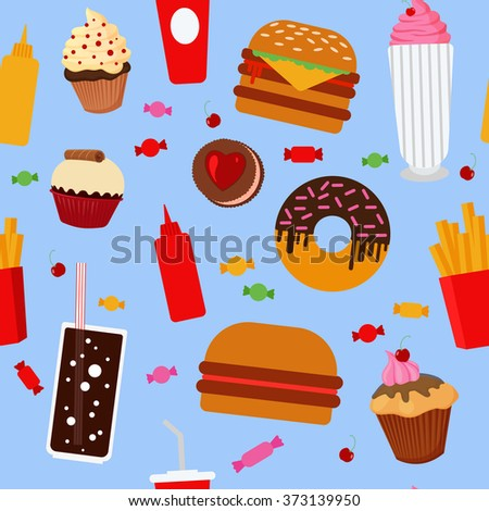 Fast Food Seamless Pattern with Sweets, Candies, Cupcakes and Burgers. Vector illustration in flat style