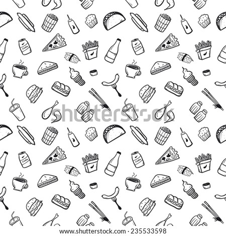 Fast food set black and white - stock vector