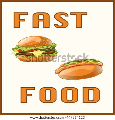 Fast food set for Menu Card, poster, brochure, web, mobile application. Colorful cartoon icons with fast food meal isolated on light background. Banner with hamburger and hot dog. Vector Illustration.