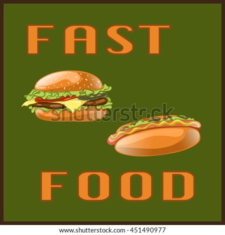 Fast food set for Menu Card, poster, brochure, web, mobile application. Colorful cartoon icons with meal isolated on green background. Banner with hamburger and hot dog. Vector Illustration.