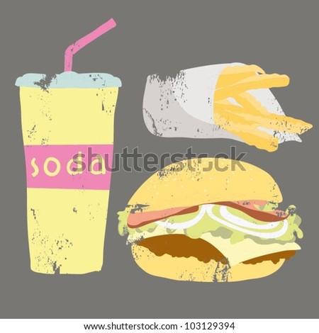 Fast food set. Hamburger, french potato and soda - stock vector