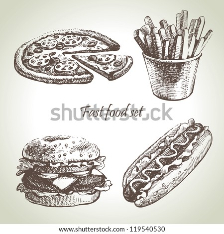 Fast food set. Hand drawn illustrations - stock vector