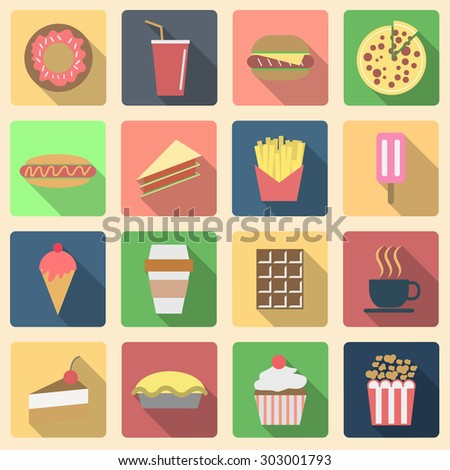 Fast food set, long shadow icons