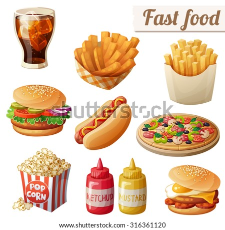 Fast food. Set of cartoon vector food icons isolated on white background. Ketchup, mustard, glass of cola, french fries, hamburger, sweet potato fries, burger with fried egg, pop corn, hot dog, pizza - stock vector