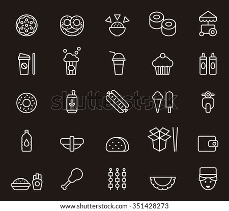 FAST FOOD set of outline icons