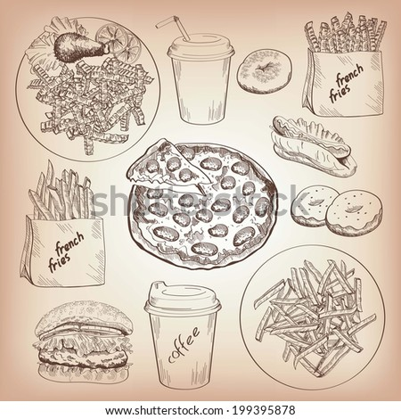 fast food. set of vector sketches. handmade - stock vector