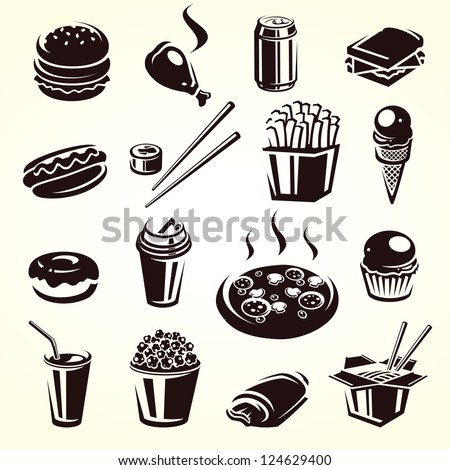 Fast food set. Vector - stock vector