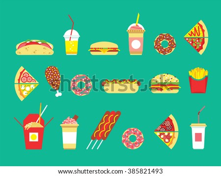 Fast food set. Vector fast food restaurant. Isolated fast food set. Flat fast food icons set. Vector fast food snakes. Restaurant junk food. Isolated fast food icons.