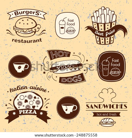 Fast food signs set, retro typography, restaurant logos on grunge background - stock vector