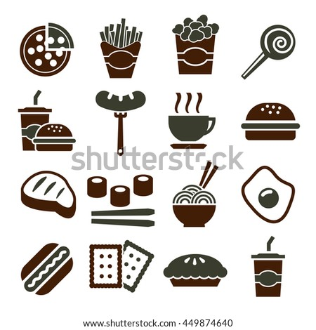 fast food, snack icon set - stock vector