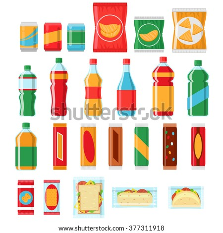 Fast food snacks and drinks flat vector icons. Vending machine products, Snack food, chip product, pack snack illustration - stock vector