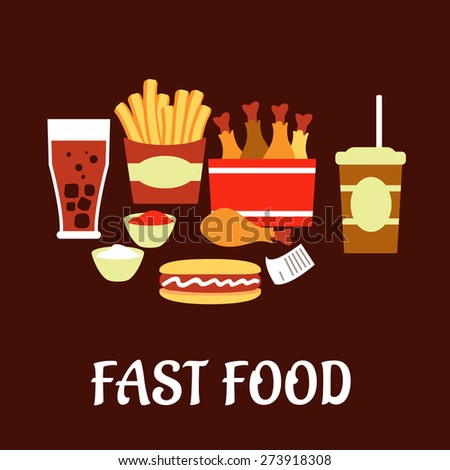 Fast food snacks and drinks set in flat style with takeaway french fries, hot dog, fried chicken legs, sauce cups, soda, coffee and bill on dark brown background  - stock vector