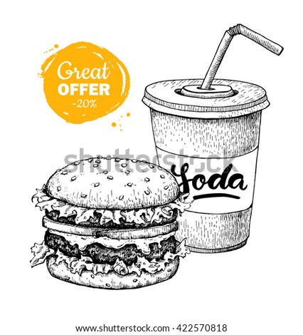 Fast food special offer. Vector sketch. Hand drawn junk food illustration. Soda and burger.