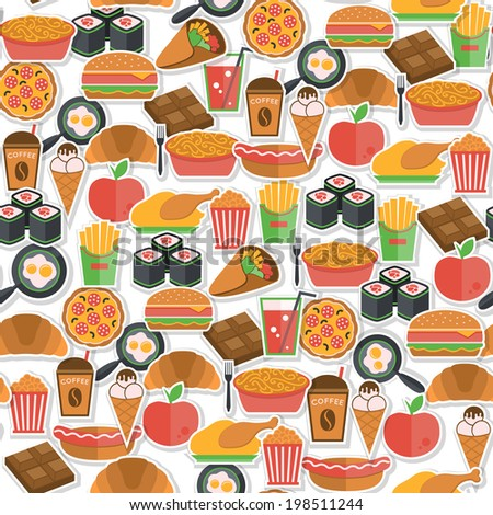 Fast food stickers icons seamless pattern with pizza icecream croissant  vector illustration - stock vector