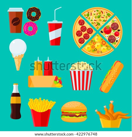 Fast food takeaway icons of cheeseburger and hot dog sandwiches, pizza, coffee and soda drinks, tortilla wrap with vegetables, boxes of french fries and fried chicken, donuts, ice cream and popcorn