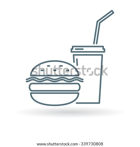 Fast food takeout icon. Junk food sign. Burger and soda symbol. Thin line icon on white background. Vector illustration.