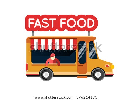 Fast Food Truck City Car Hipster Auto Cafe Mobile Kitchen