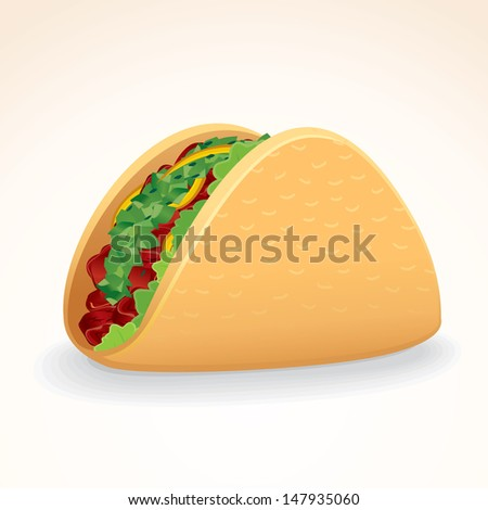 Fast Food Vector Icon. Crisp Taco Shell with Beef and Vegetables - stock vector