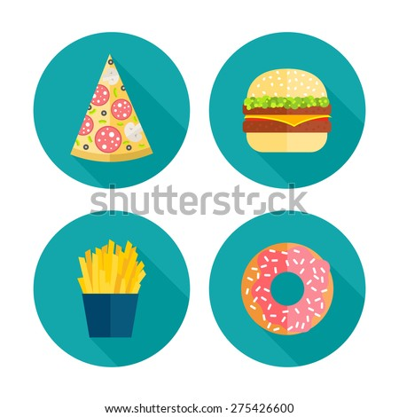 Fast food vector icon design. Flat illustration of unhealthy food, diet symbol or restaurant menu element. French fries, pizza, hamburgers and donut symbols. - stock vector