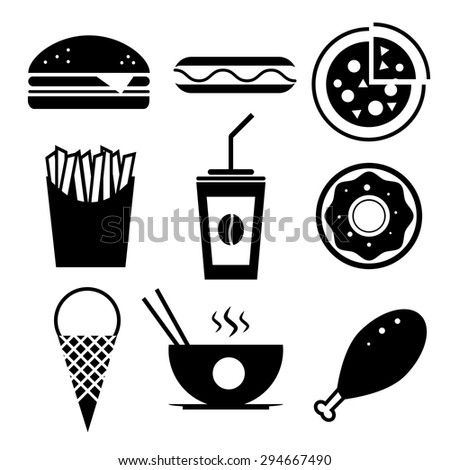 Fast food vector icon set. Burger, ice cream, coffee, chinese food, hotdog, donut, pizza, fried chicken, french fries. - stock vector