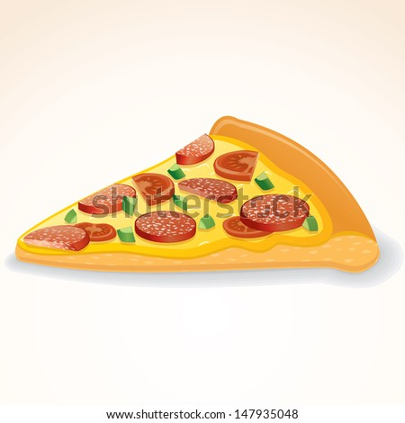 Fast Food Vector Icon. Slice of Pepperoni Pizza - stock vector