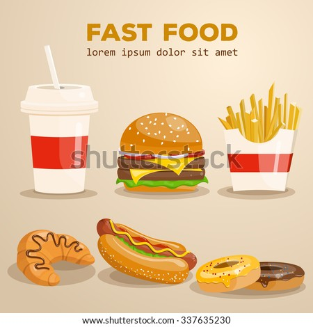 Fast food vector illustration. Burger, fried potato, hot dog, coffee, cola, sandwich, croissant, donut. Food collection. - stock vector