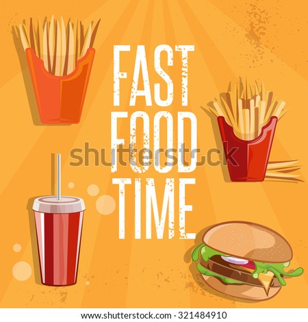 fast food vector illustration with burger,fried potatoes and cola  - stock vector