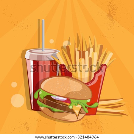 fast food vector illustration with burger,fried potatoes and cola