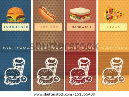 Fast food Vector Labels for product. Information Food Template Banner. - stock vector