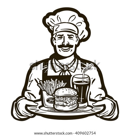 fast food vector logo. restaurant or cook, chef icon - stock vector
