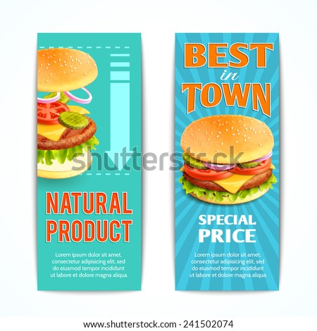 Fast food vertical banners set with best natural meat hamburgers isolated vector illustration - stock vector