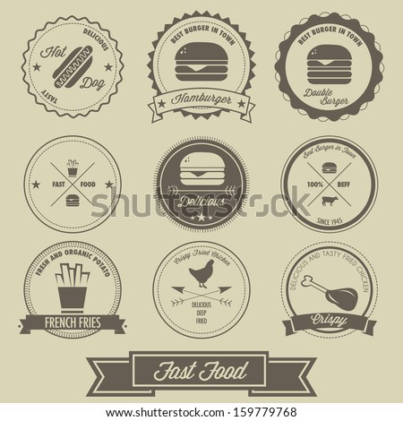Fast Food Vintage Label - stock vector