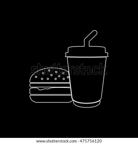 fast food  - white vector icon