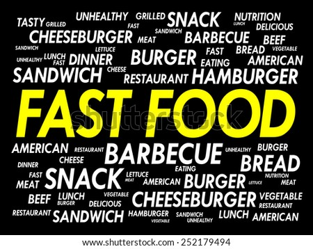 FAST FOOD word cloud concept - stock vector