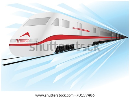 Fast, high speed vector train - stock vector