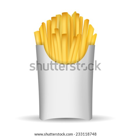 Fast junk food french fries in paper pack isolated on white background vector illustration. - stock vector